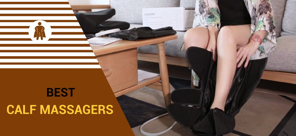 a girl wearing her calf massager