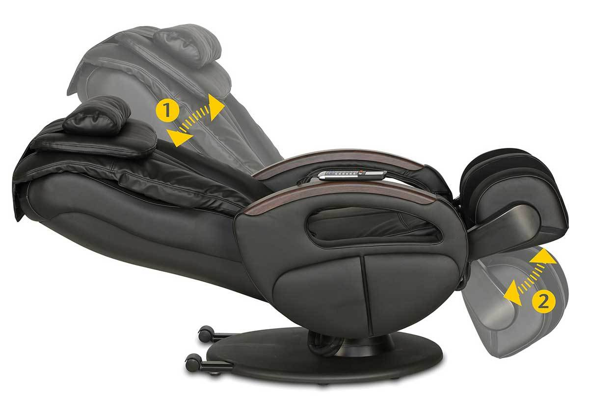 the massage chair with the arrows to show how it moves