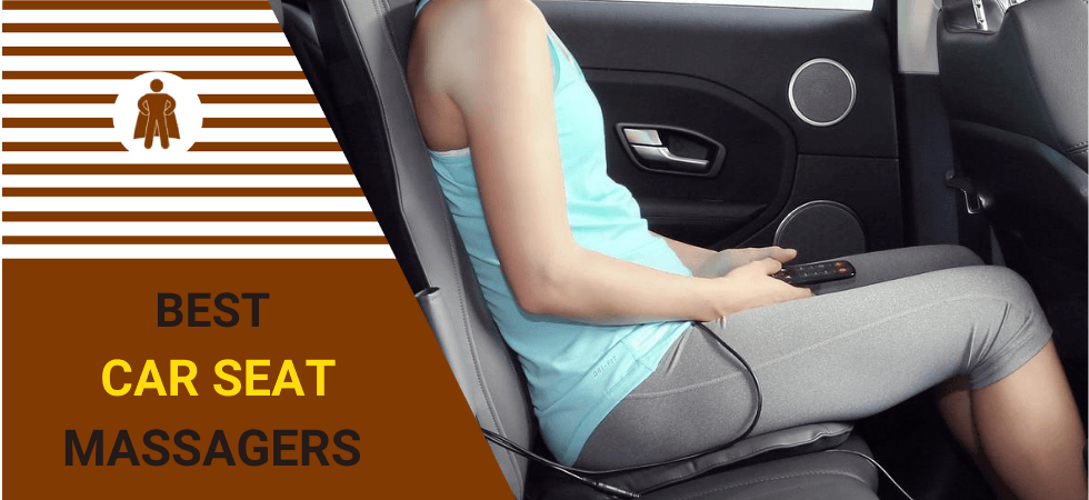 a woman is using car seat massager