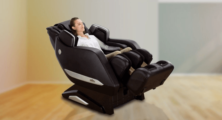 a lady enjoying on her massage machine
