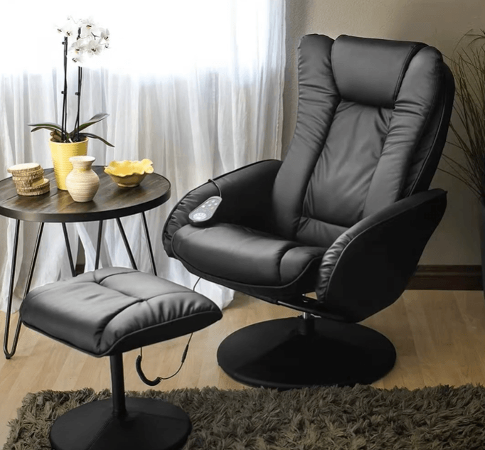 a massage chair placed in room
