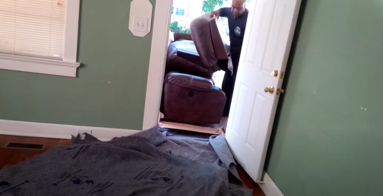Moving a recliner chair through a narrow door