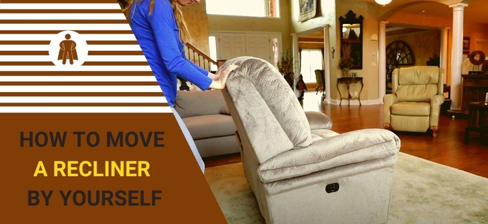 A woman is move a recliner by herself