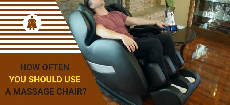a man is using a massage chair